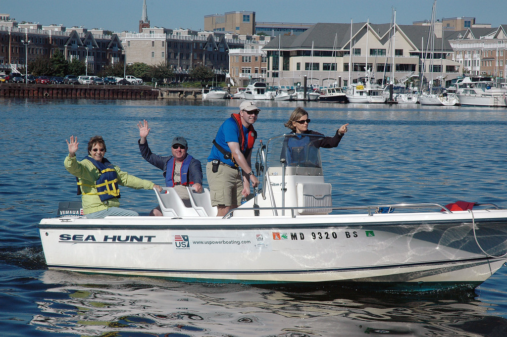 Sailors operate the SeaHunt with 90HP engine for an Access-ability Saturday