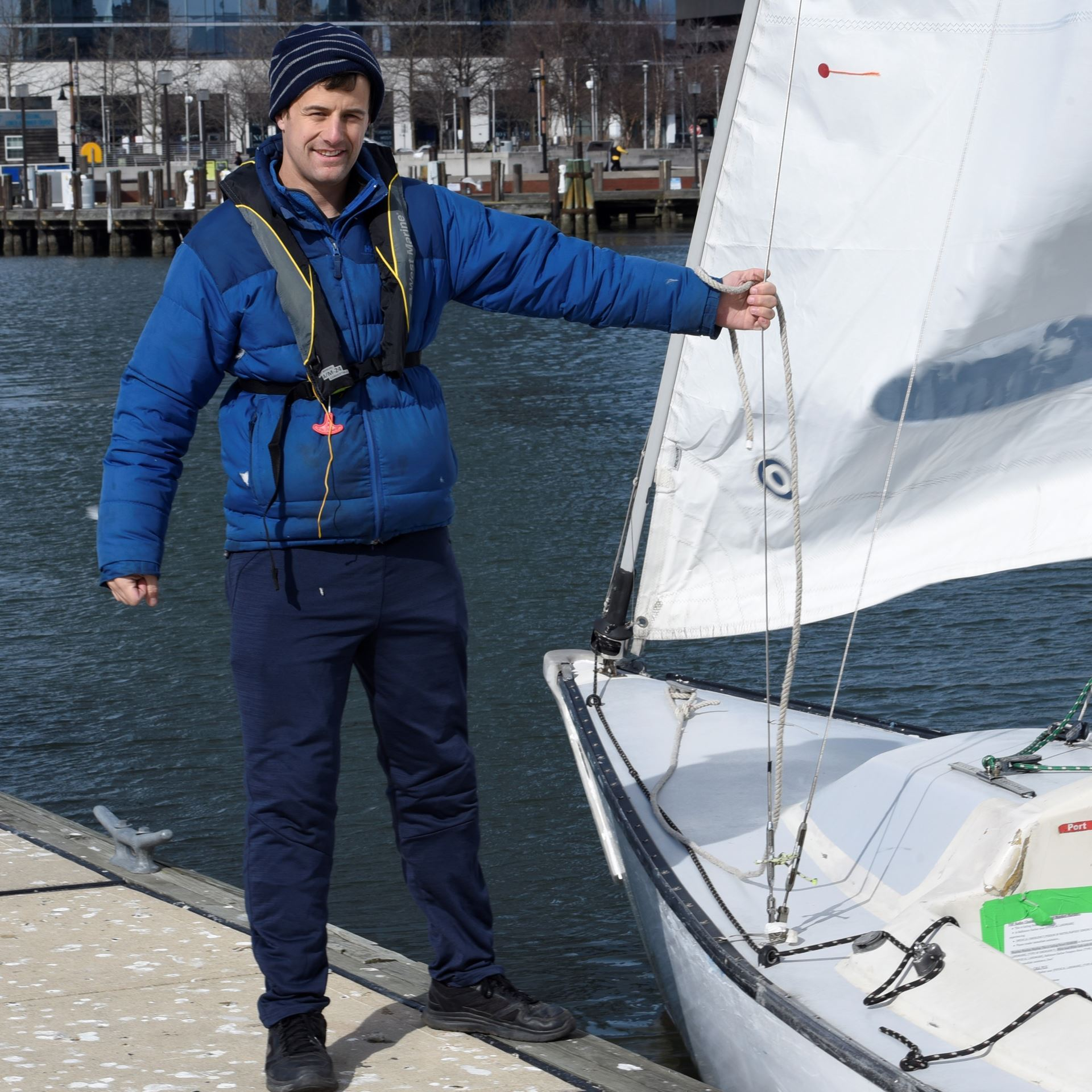 Instructor Graham preps to sail