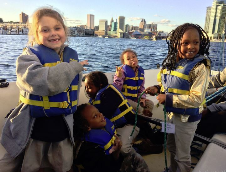 Five Bay Brook students sail on the Inner Harbor