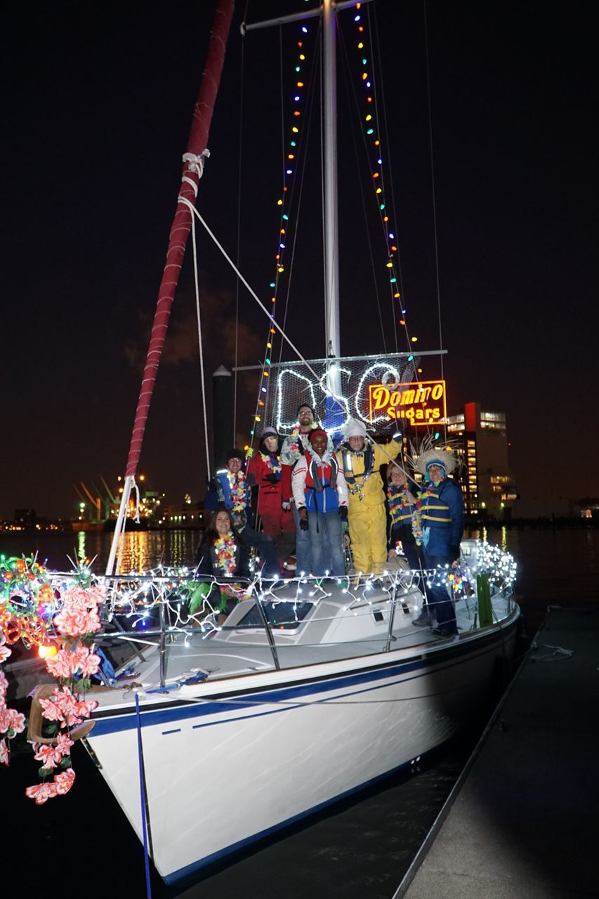 Cruising Members prep for Lighted Boat Parade, Christmas 2016